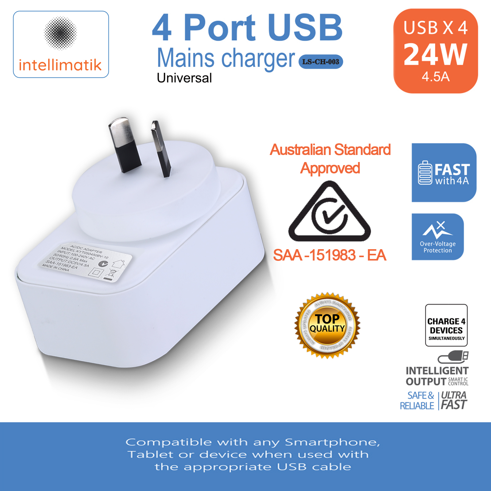 4 USB AC Plug Wall Charger Fast Charging Power Adapter